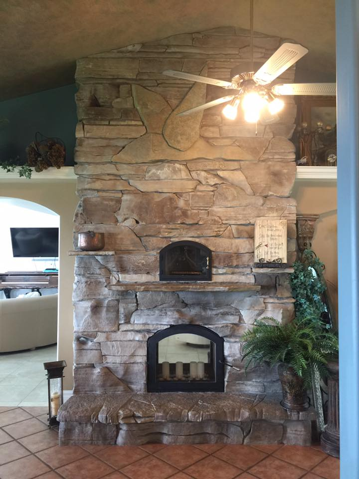 stone decor fireplace