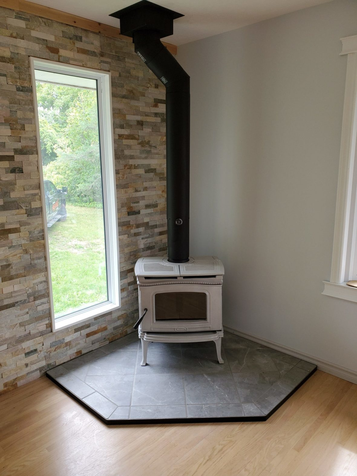 free standing white fireplace